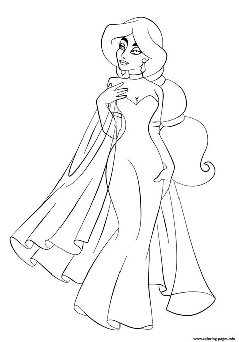 Jasmine In Wedding Dress Disney Princess S6993 Coloring Pages   Bridal Bliss