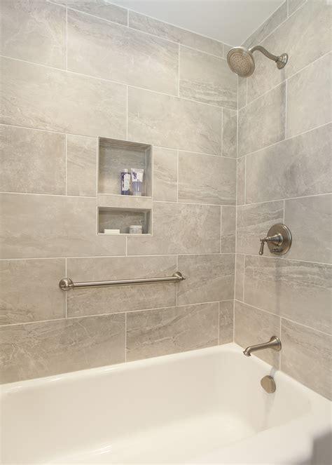 stunning bath tub tile surround  built  niches