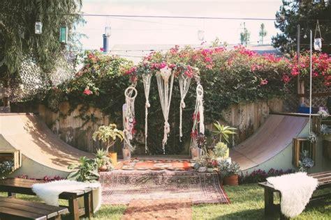 Socal Backyard Wedding With Bohemian Skater Flare Aisle