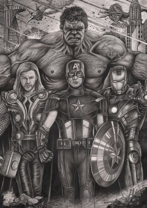 'the Avengers' Graphite Drawing By Pentacularartist On