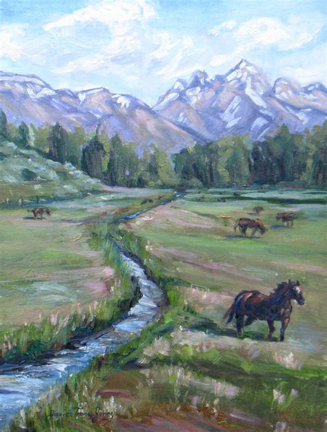 Horse Ranch Original Oil Painting Impressionism Western