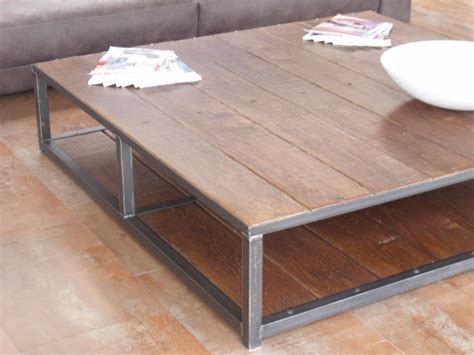 grande table basse bois m 233 tal 160x160 micheli design
