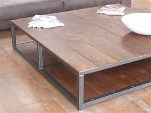 Grande Table Basse Carrée : grande table basse bois m tal 160x160 micheli design ~ Teatrodelosmanantiales.com Idées de Décoration