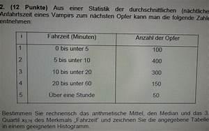 Median Berechnen Statistik : h ufigkeitsverteilung tabelle fahrzeit in minuten und anzahl der opfer 3 quartil median ~ Themetempest.com Abrechnung