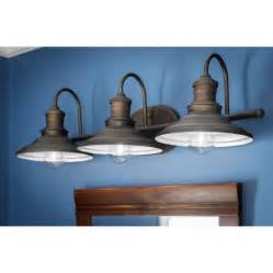 shop allen roth 3 light hainsbrook aged bronze bathroom With barn style vanity lights