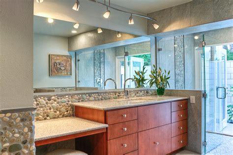 contemporary master bathroom with track lighting hgtv