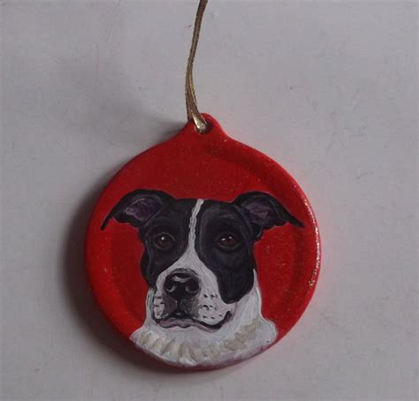 pit bull terrier dog custom hand painted christmas ornament