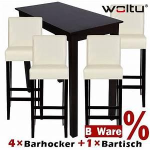 Bartisch Set Holz : 4x barhocker holz wei 1x bartisch hochtisch holz braun set 9122 9201 ebay ~ Indierocktalk.com Haus und Dekorationen