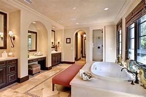 big bathroom separate sinks center vanity big tub With big beautiful bathrooms