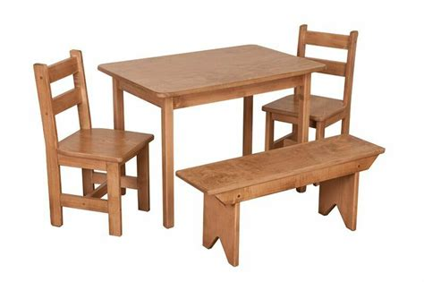 Kitchen Table Set With Bench by Child Kitchen Table Set Chairs Bench Oak Homeschool Wooden