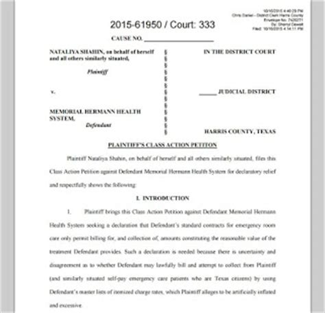 trustee demand for information template texas houston courts cases memorial hermann faces class