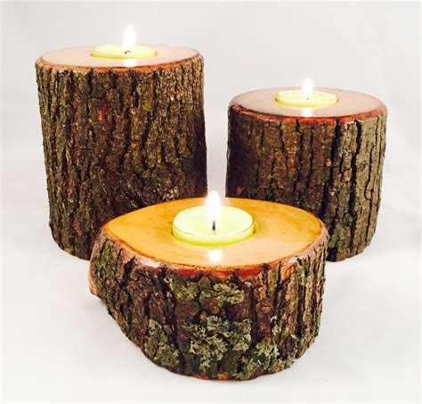 Candle Holders by Wood Log Candle Holders Wood Tealight Candle Holder