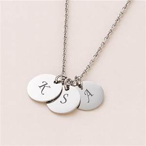engraved letter discs on necklace charming engraving With engraved letter necklace
