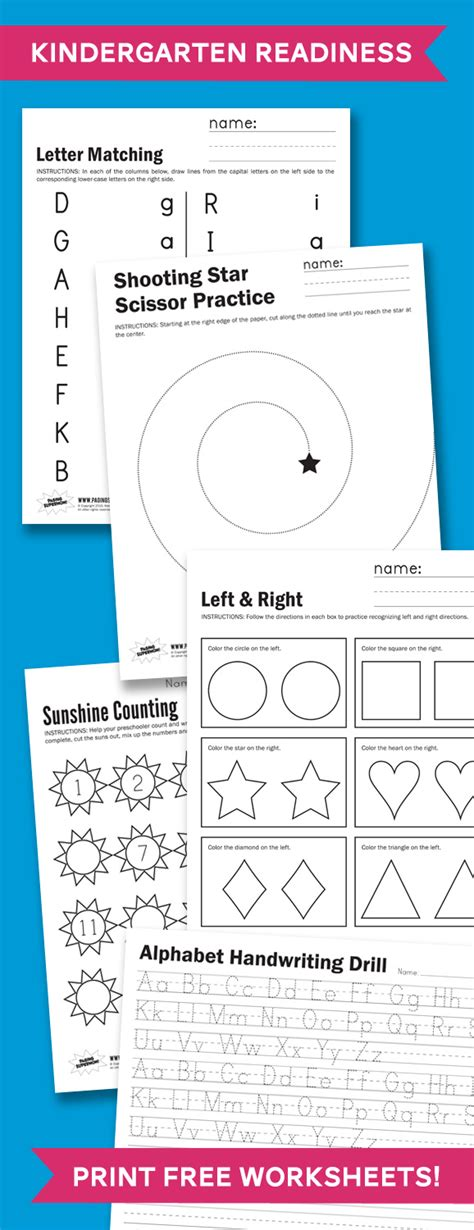 kindergarten readiness worksheets basic kindergarten skills free printable worksheets