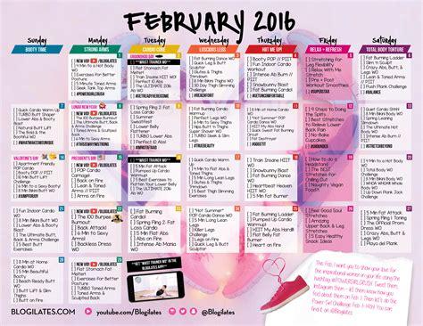 february workout calendar archives blogilates