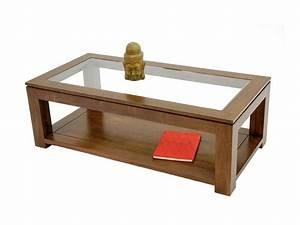 Table Basse Rectangulaire Bois : table de salon rectangulaire holly double plateau meubles bois massif ~ Teatrodelosmanantiales.com Idées de Décoration