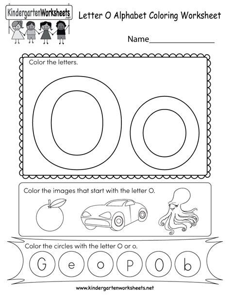 Letter O Coloring Worksheet  Free Kindergarten English Worksheet For Kids