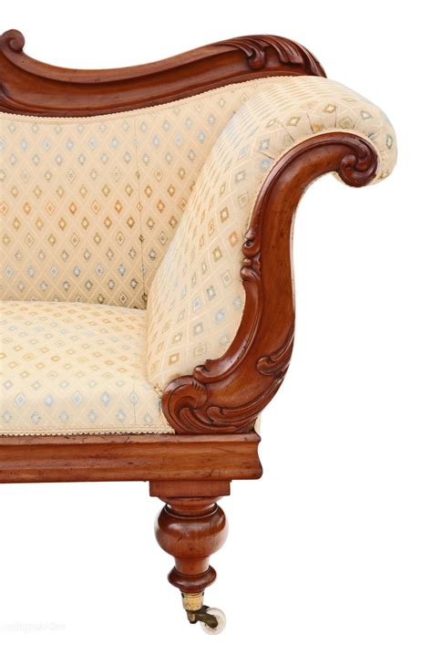 Antique Carved Mahogany Fancy Arm William Iv Scroll Arm Sofa Chaise Longue Mahogany