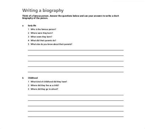 biography templates   excel  premium
