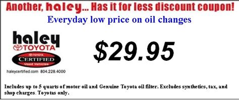 Haley Certified Offers Low Price Toyota Oil Changes
