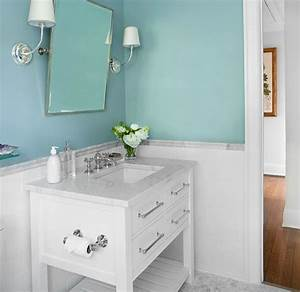 Spa blue paint color transitional bathroom sherwin for Best brand of paint for kitchen cabinets with aqua bathroom wall art