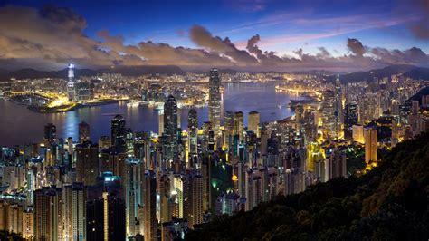 full hd wallpaper hong kong aerial view night illuminated