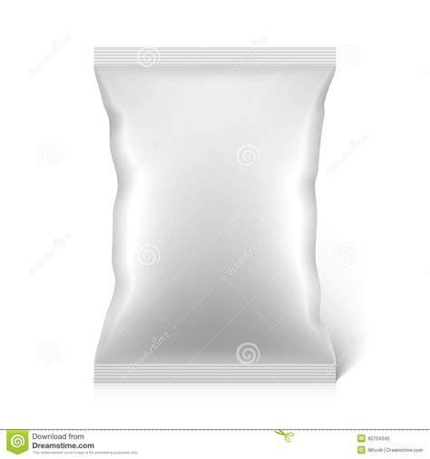 white blank snacks food foil packaging bag stock vector
