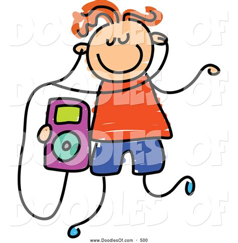 listening to ipod clipart vector clipart of a child s sketch of a boy listening to