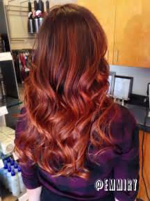 Copper Red Ombre Hair Balayage