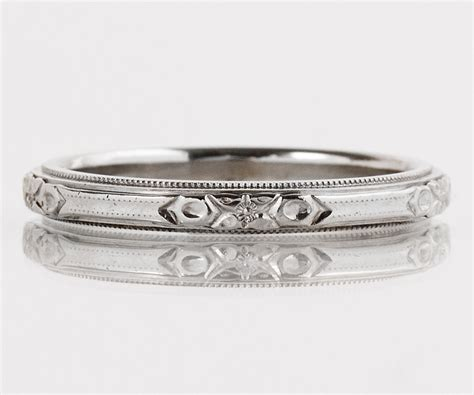 antique wedding band antique 14k white gold etched wedding