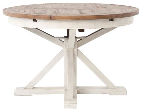"Zin Home Coastal Beach Reclaimed Wood White Expandable Round Dining Table 63""   Dining Tables"