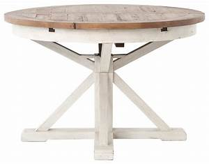 Coastal Beach Reclaimed Wood White Expandable Round Dining