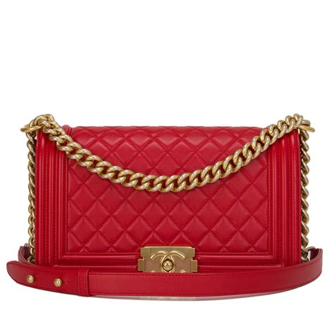 chanel red quilted lambskin medium boy bag worlds