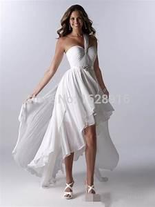 2016 women dress beach style one shoulder ruffle high low With high fashion wedding dress