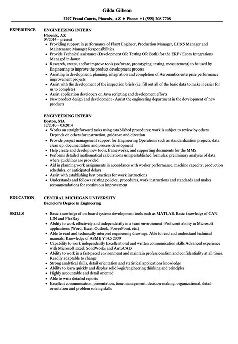 engineering intern resume sles velvet