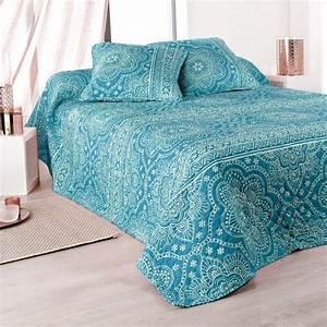 Couvre Lit Bleu : boutis et taies d 39 oreiller 230 x 250 cm mandala bleu couvre lit boutis eminza ~ Teatrodelosmanantiales.com Idées de Décoration