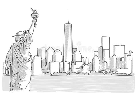 Free Hand Sketch Of New York City Skyline With Statue Of Liberty Stock Vector Line Graph Test Questions Equation Of The Worksheet Maths For Ielts Writing Task 1 Find Vertical Year 5 A Function