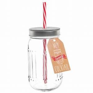 Bocal Avec Paille : bocal avec paille en verre h 14 cm sweety maisons du monde ~ Teatrodelosmanantiales.com Idées de Décoration