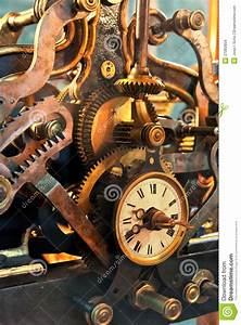 Old Mechanism Of A Big Tower Clock Stock Photo