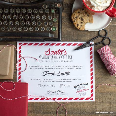 naughty  nice certificate  santa lia griffith