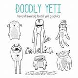 Yeti Clipart Bigfoot Hand Drawn Monster Eps Coloring Clip Digital Doodle Vector Draw sketch template