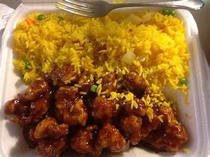 General Tso's chicken with pork fried rice Yelp