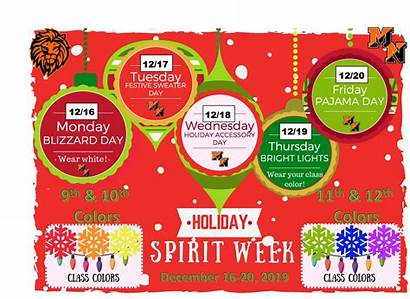 Spirit Week Holiday Comes Themes Staff Lions