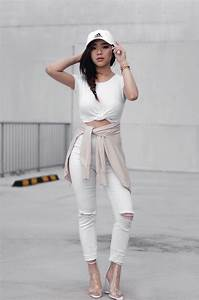 Willabelle Ong - Adidas Cap White Distressed Skinny Jeans Nail Boots Tie Knot Tee - Blanc ...