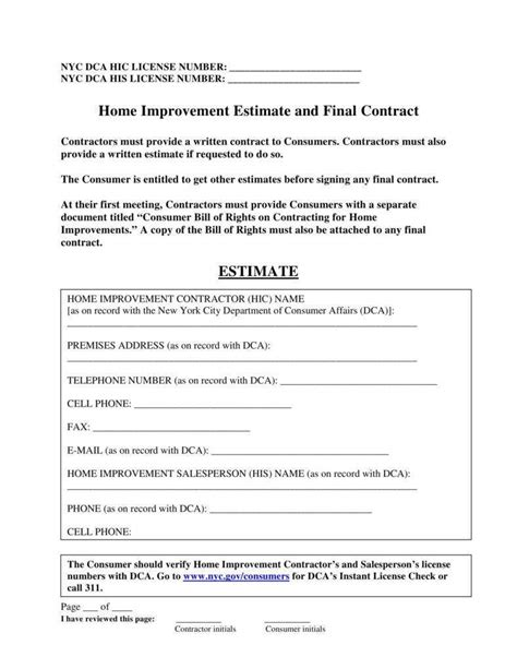 home repair contract templates docs word pages
