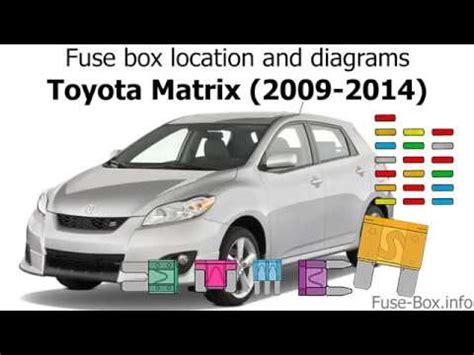 2009 Toyotum Matrix Fuse Box The by Fuse Box Location And Diagrams Toyota Matrix E140 2009