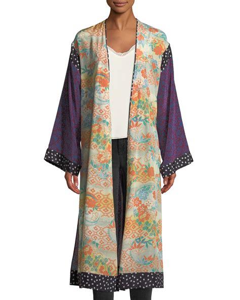 elizabeth james shawna floral patchwork kimono robe