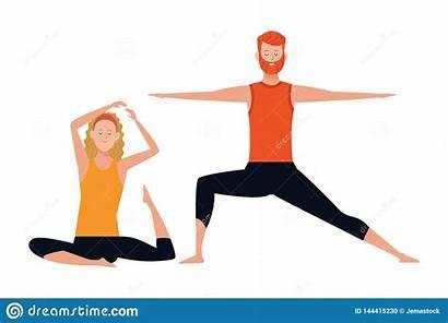 Yoga Poses Couple Cartoon Character Headband Beard