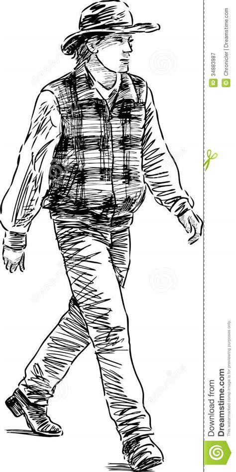 striding man   hat stock vector illustration  wild