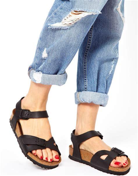 Lyst - Birkenstock Rio 2 Strap Black Sandals in Black